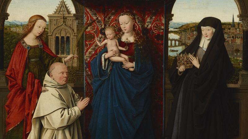 Exposição Obra Convidada Jan Van Eyck e Oficina Virgem e o Menino com Santa Bárbara, Santa Isabel da Hungria e um doador (Jan Vos)