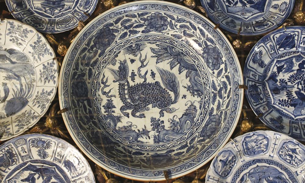 Visitas Orientadas Exposição Azul Sobre Ouro Cerâmica Pratos China Sala do Torreão